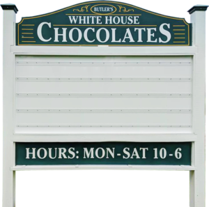 White House Chocolates sign