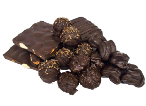 pile of dark chocolate candies